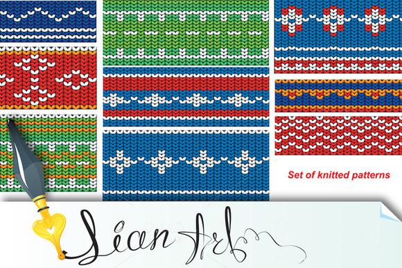 Set Of Knitted Wool Seamless Pattern