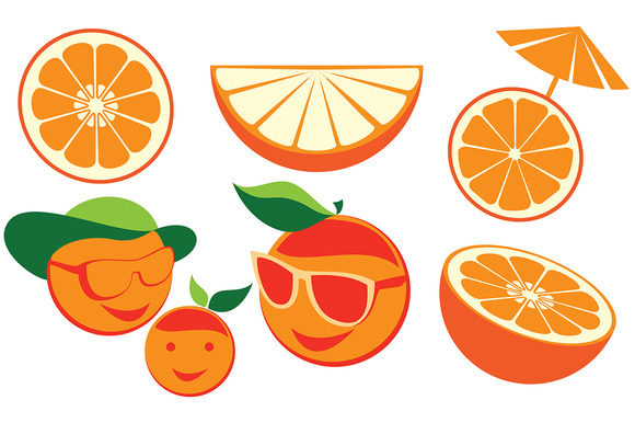 Set Of Cartoon Oranges