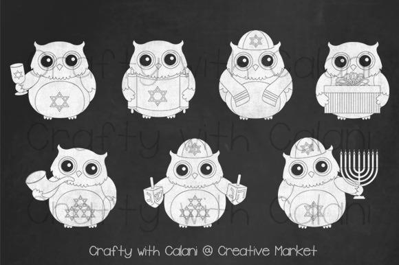 Hanukkah Cute Owl Chalkboard Clipart