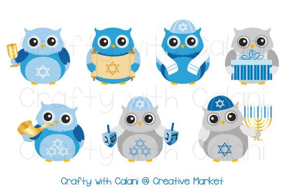 Hanukkah Cute Owl Digital Stamp