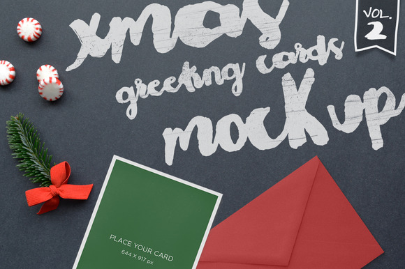 Xmas Greeting Cards Mockup Vol 2