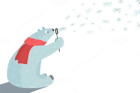 Polar Bear Blowing Snowflakes