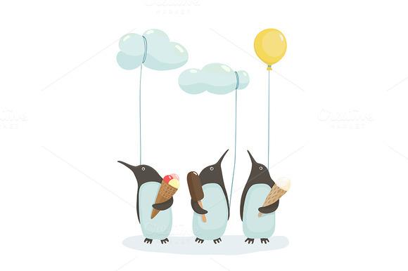 Penguins With Ice Cream