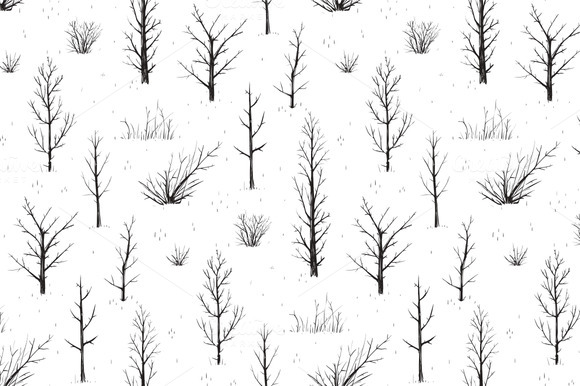 Scratchy Trees Seamless Pattern Set