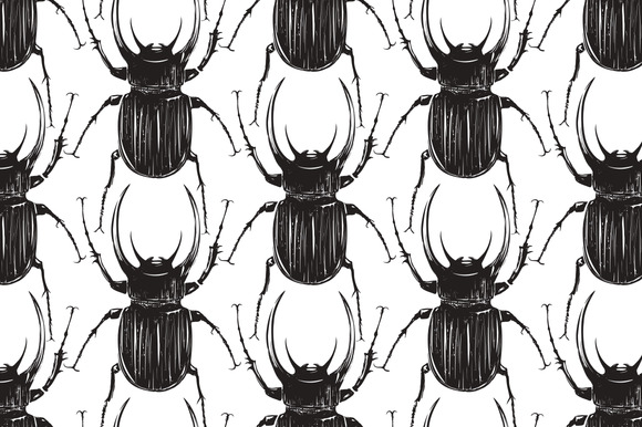 Black Beetle Insect Seamless Pattern