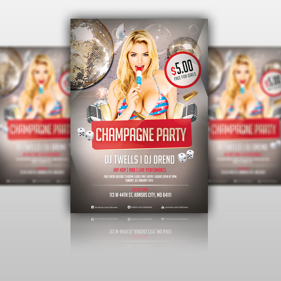 Champagne Party Flyer PSD Template
