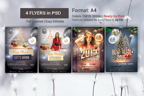 Christmas 2015 Flyers PSD Bundle