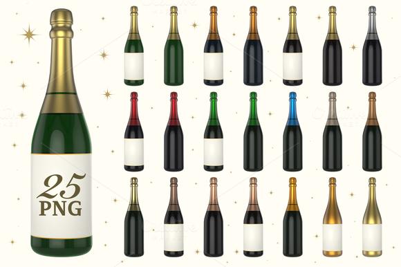 Champagne Bottle 3D