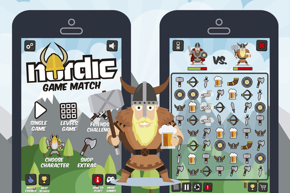 Nordic Vikings Match 3 Game Assets