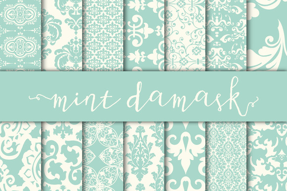 Mint Damask Digital Paper