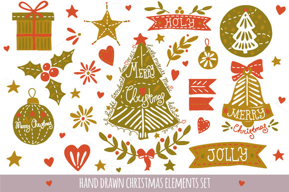 Hand Drawn Christmas Elements Set