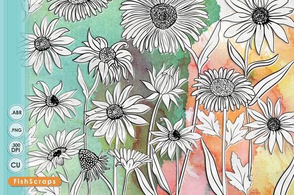 Daisy Line Art Silhouette ClipArt