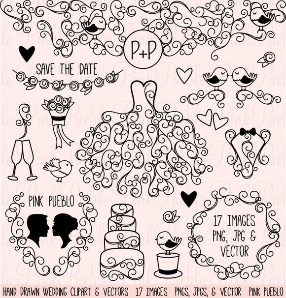 Hand Drawn Wedding Clipart Vectors