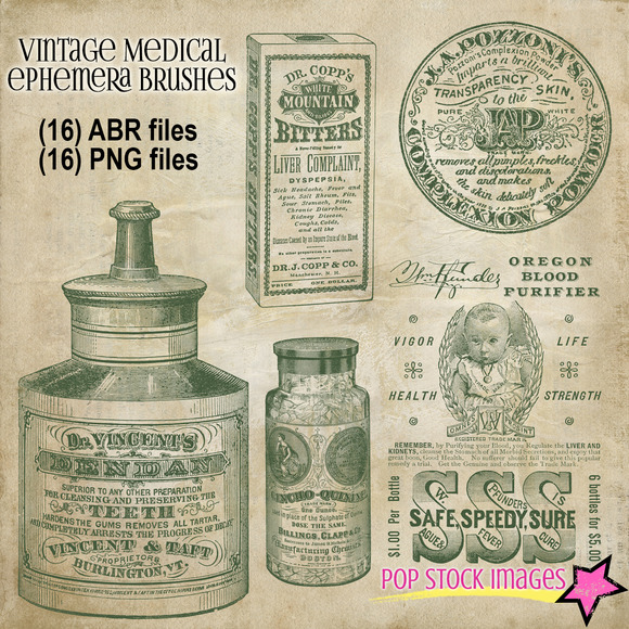Vintage Medical Ephemera Brushes