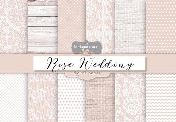 Rose Rustic Wedding Digital Paper