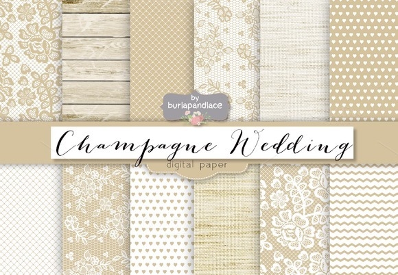 Champagne Wedding Digital Paper