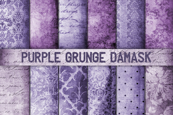 Purple Grunge Damask Digital Paper