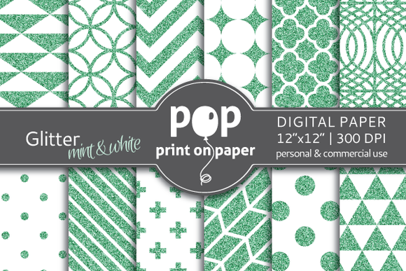 Glitter Mint White Digital Paper