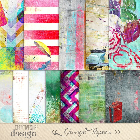 Grunge Textured Digital Papers