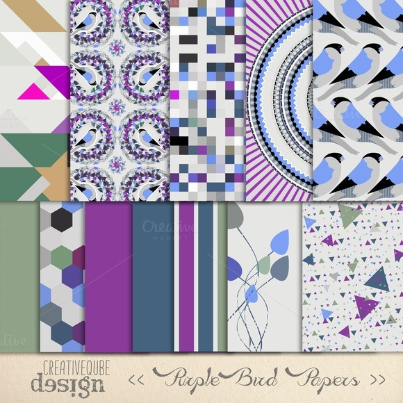 Purple Bird Pattern Digital Paper