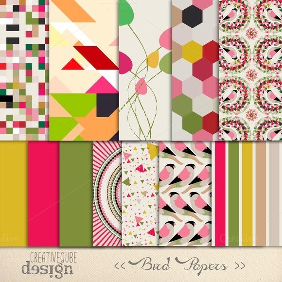 Bird Pattern Digital Paper