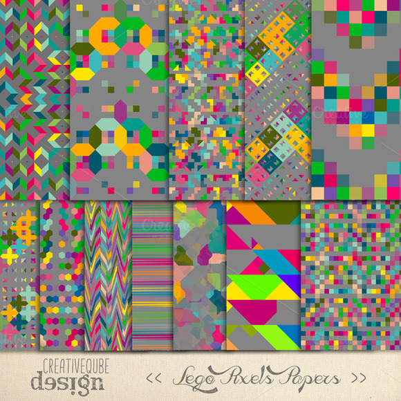 Digital Paper Pack Lego Pixels