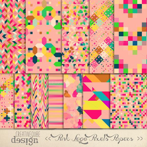 Digital Paper Pink Pixels