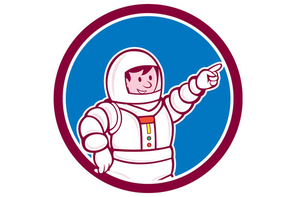 Astronaut Pointing Front Circle