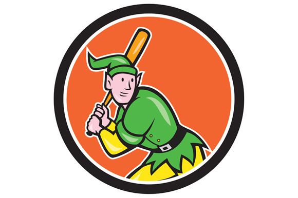 Elf Baseball Player Batting Circle C
