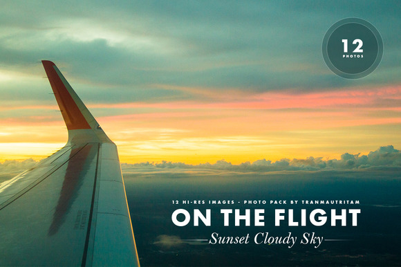 On The Flight And Sunset Cloudy Sky
