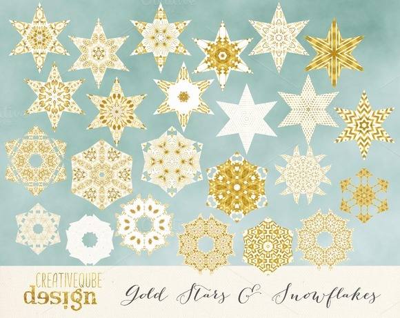Gold Stars And Snowflakes Clipart