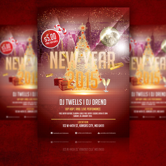 New Year 2015 Flyer PSD Template