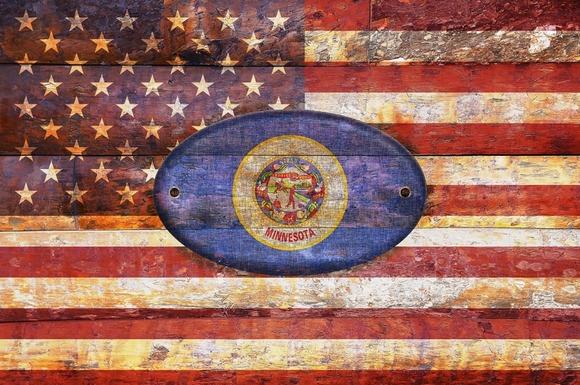 USA And Minnesota Flags