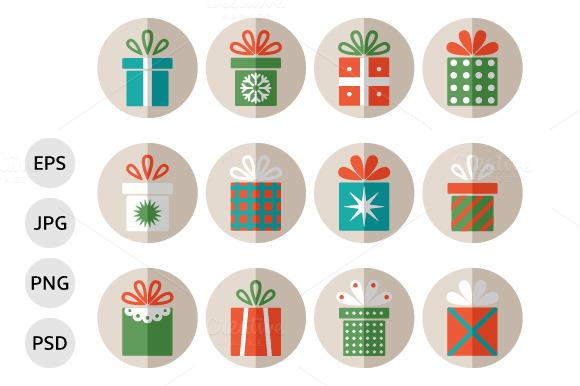Set Of Flat Christmas Gift