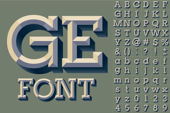 Old School Beveled Vector Alphabet