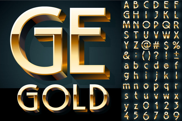 Golden Vector 3D Alphabet