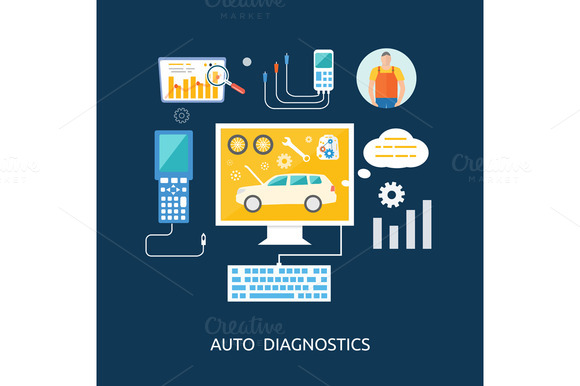 Auto Mechanic Service Flat Icons
