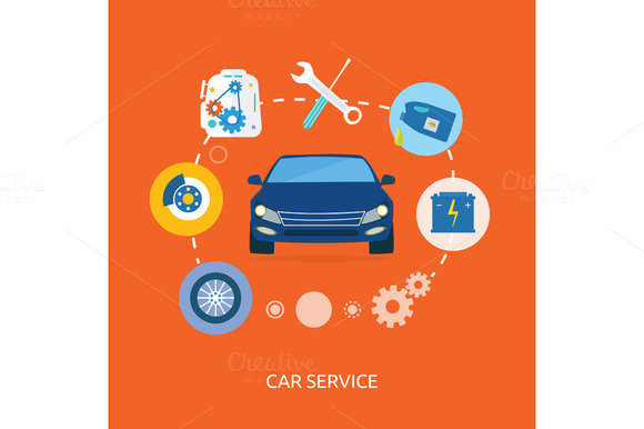 Auto Mechanic Service Flat Icons