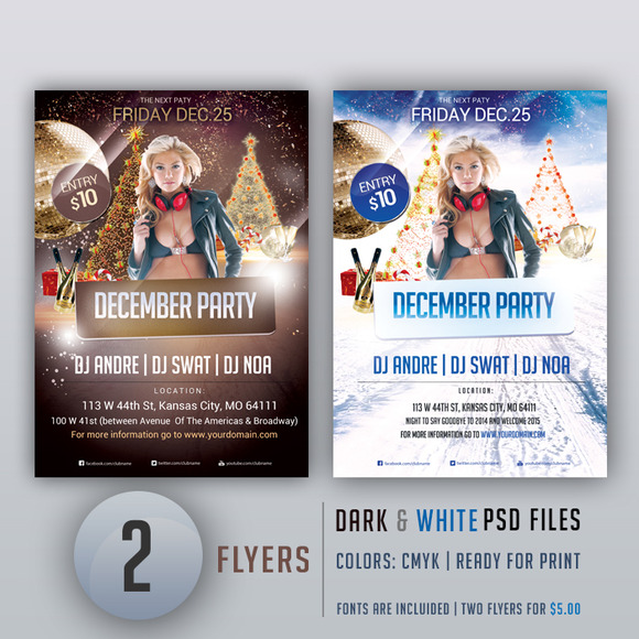 December Party Two PSD Flyers