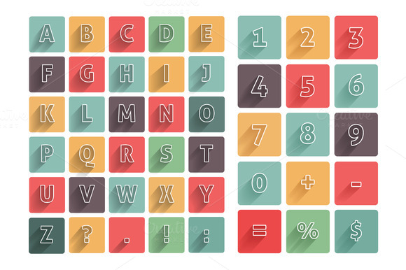Flat Alphabet A-Z Icons Set With
