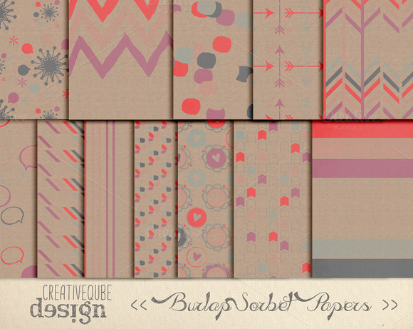 Digital Paper Pack- Patterned Burlap