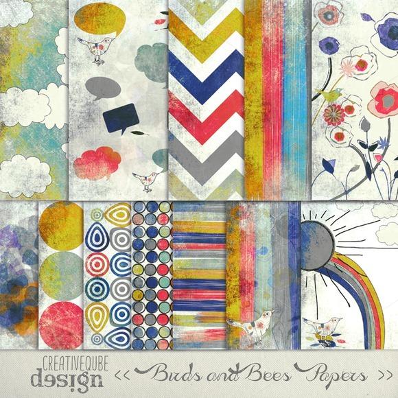 Textured Birds Digital Paper Pack