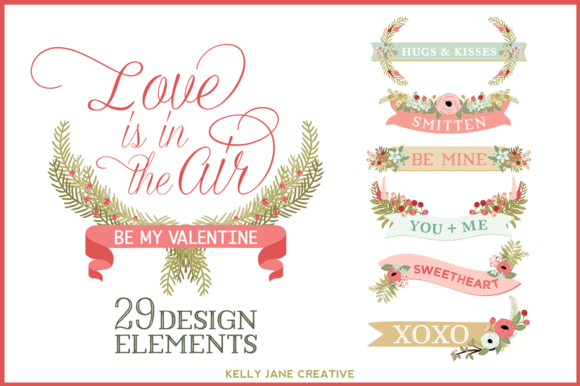 Valentine Banners Flowers