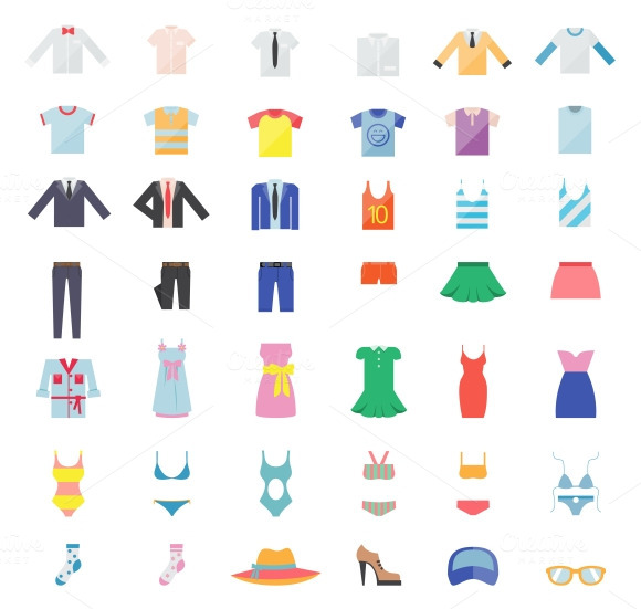 Large Set Of Clothing Icons