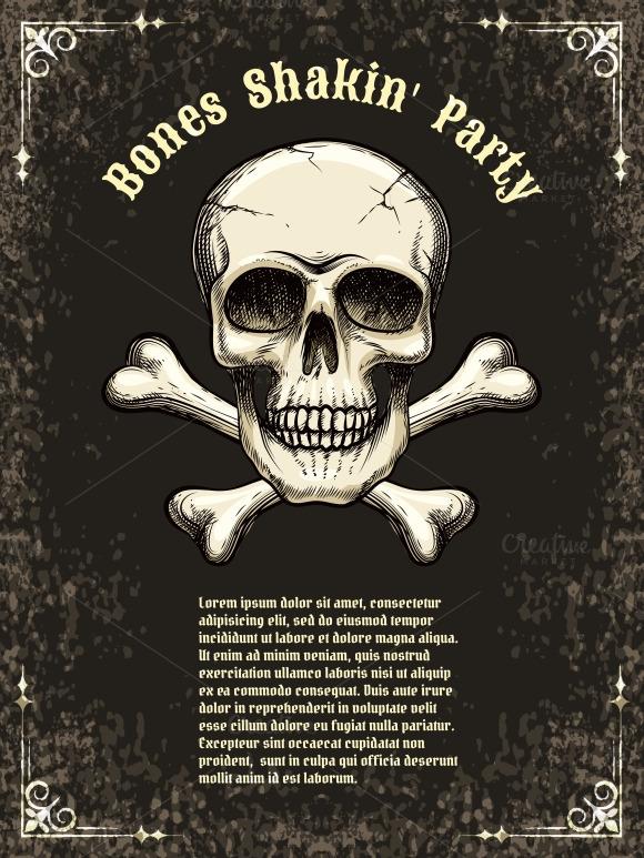 Vector Skull Frame Poster Template