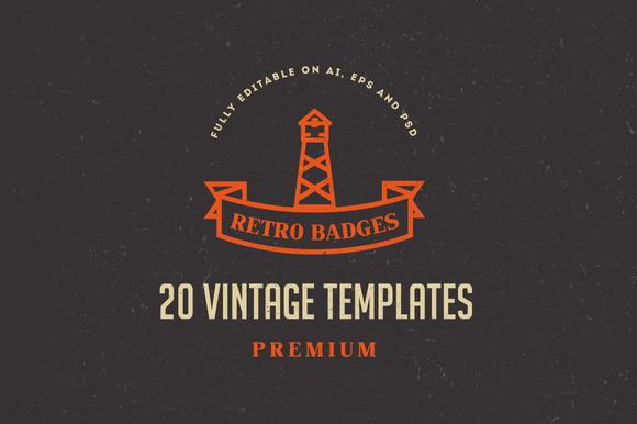 20 Vintage Logos Badges