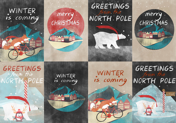8 RETRO CHRISTMAS CARDS