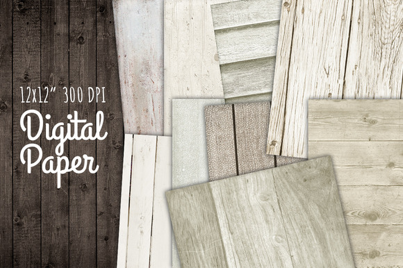 White Wood Digital Background Paper