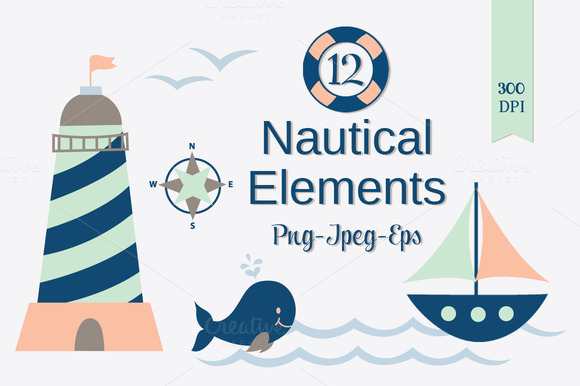 Nautical Clip Art Set PNG JPEG EPS