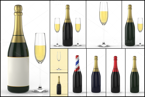 Champagne Bottle And Glass 3D